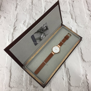 HELMSLEY ROSE GOLD CASE WITH WARM GREY DIAL & LEATHER STRAP - OWL watches
