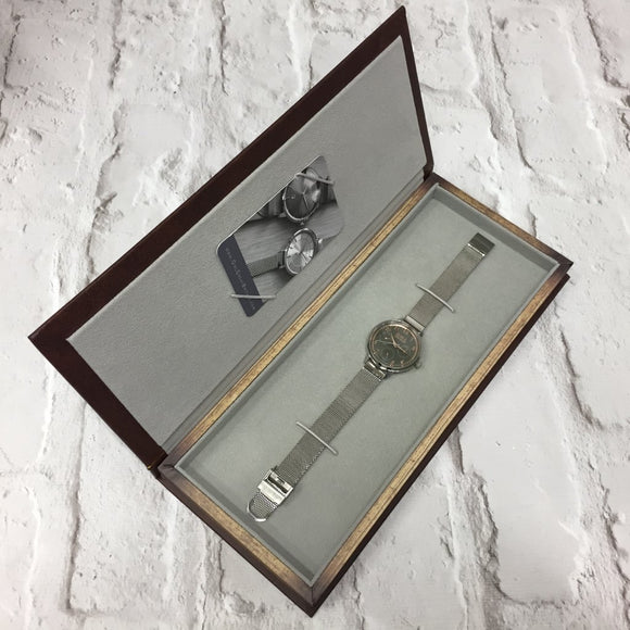 HELMSLEY STEEL CASE WITH MINK DIAL & STEEL MESH STRAP - OWL watches