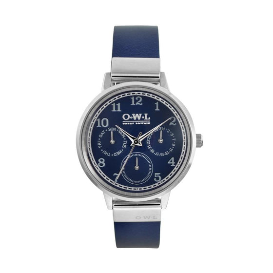 HELMSLEY STEEL CASE WITH BLUE DIAL & LEATHER STRAP - OWL watches
