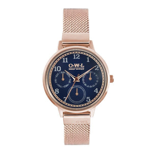 HELMSLEY ROSE GOLD CASE WITH BLUE DIAL & ROSE GOLD MESH STRAP - OWL watches