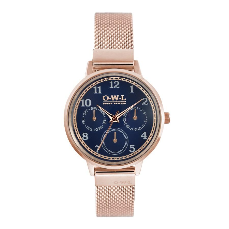 HELMSLEY ROSE GOLD CASE WITH BLUE DIAL & ROSE GOLD MESH STRAP