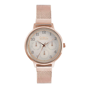 HELMSLEY ROSE GOLD CASE WITH MINK DIAL & ROSE GOLD MESH STRAP - OWL watches
