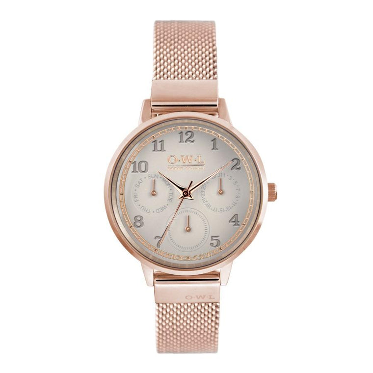 HELMSLEY ROSE GOLD CASE WITH MINK DIAL & ROSE GOLD MESH STRAP