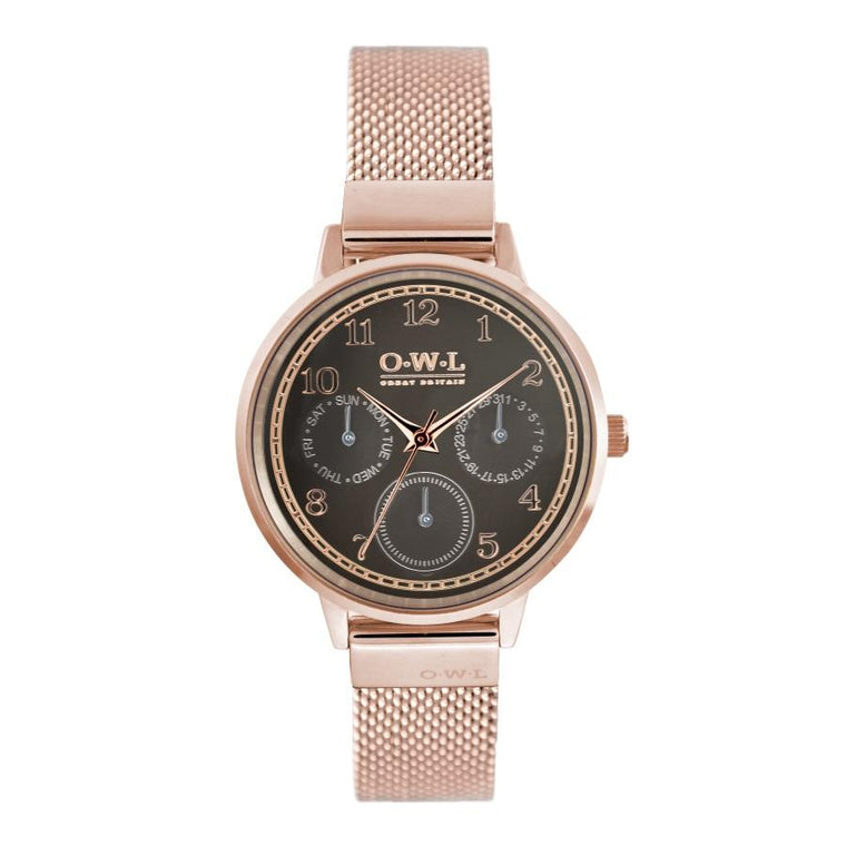 HELMSLEY ROSE GOLD CASE WITH WARM GREY DIAL & ROSE GOLD MESH STRAP