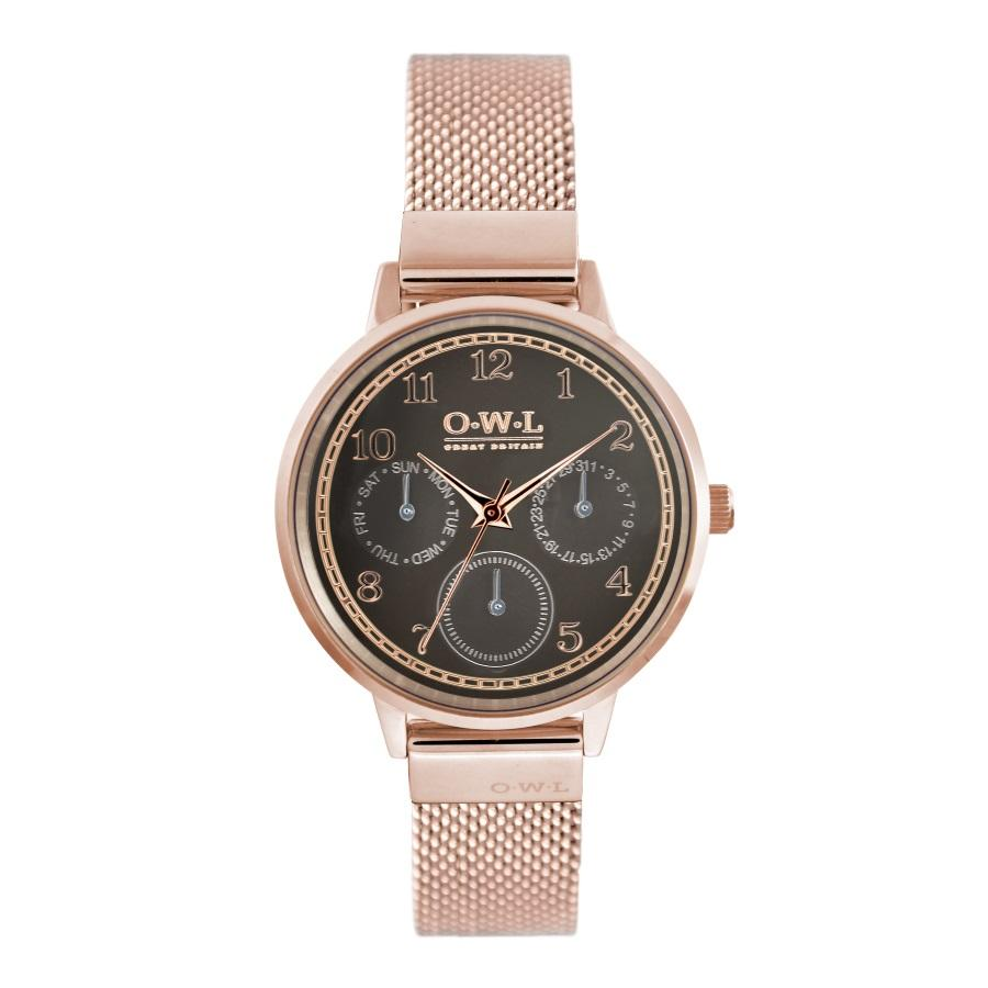HELMSLEY ROSE GOLD CASE WITH WARM GREY DIAL & ROSE GOLD MESH STRAP - OWL watches