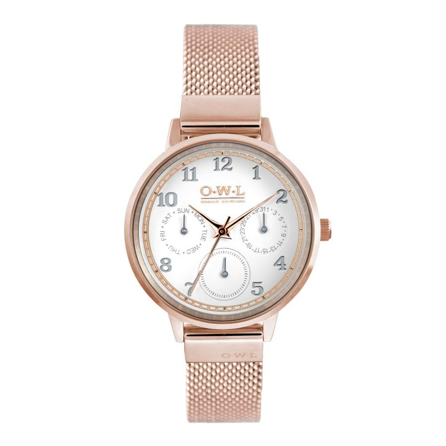 HELMSLEY ROSE GOLD CASE WITH SHELL WHITE DIAL & ROSE GOLD MESH STRAP - OWL watches