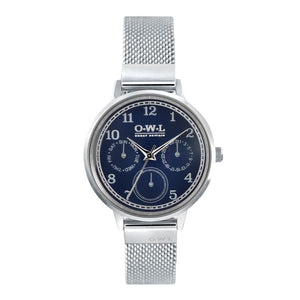 HELMSLEY STEEL CASE WITH BLUE DIAL & STEEL MESH STRAP - OWL watches