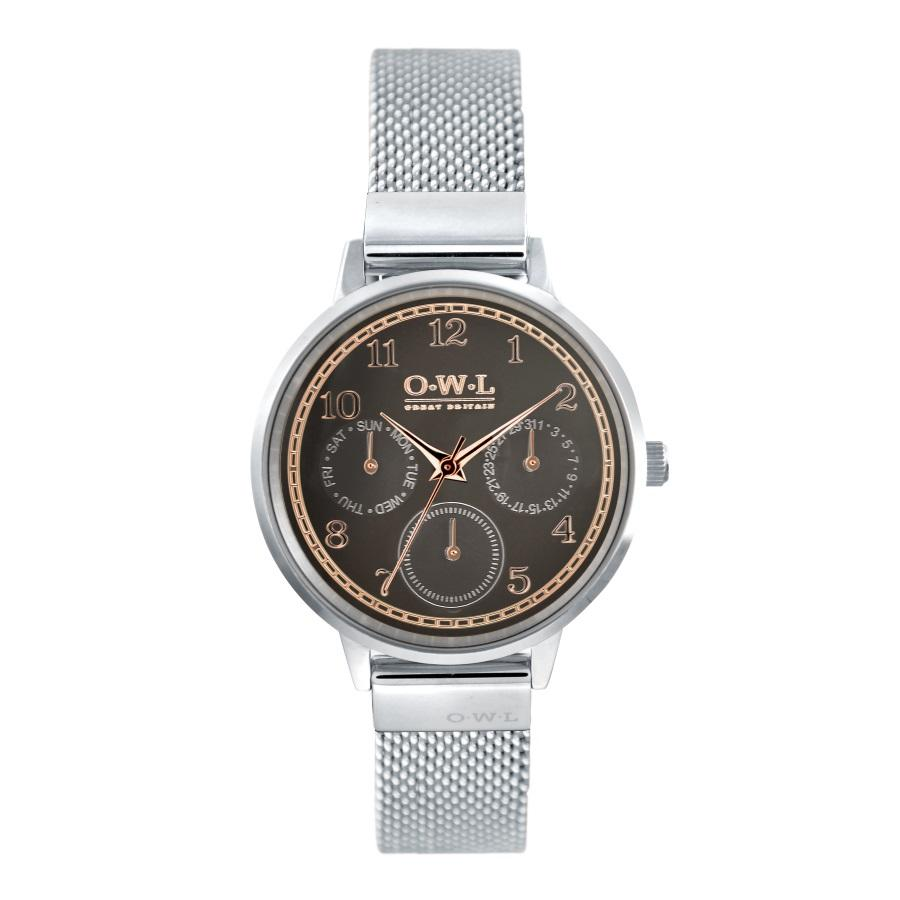 HELMSLEY STEEL CASE WITH WARM GREY DIAL & STEEL MESH STRAP - OWL watches