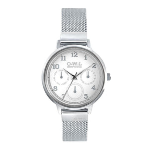 HELMSLEY STEEL CASE WITH SHELL WHITE DIAL & STEEL MESH STRAP - OWL watches