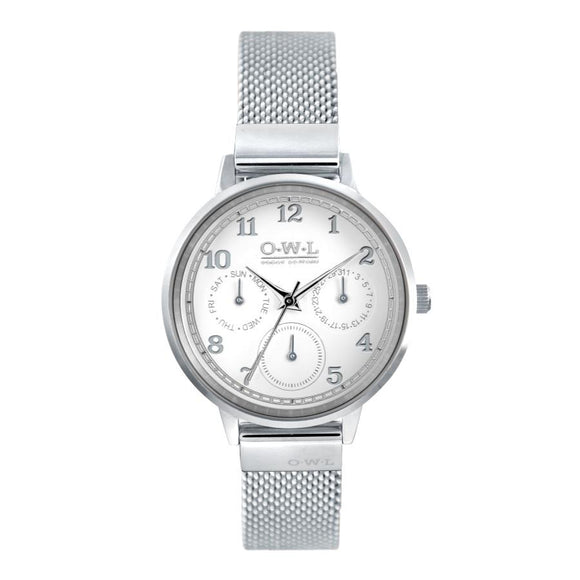 HELMSLEY STEEL CASE WITH SHELL WHITE DIAL & STEEL MESH STRAP