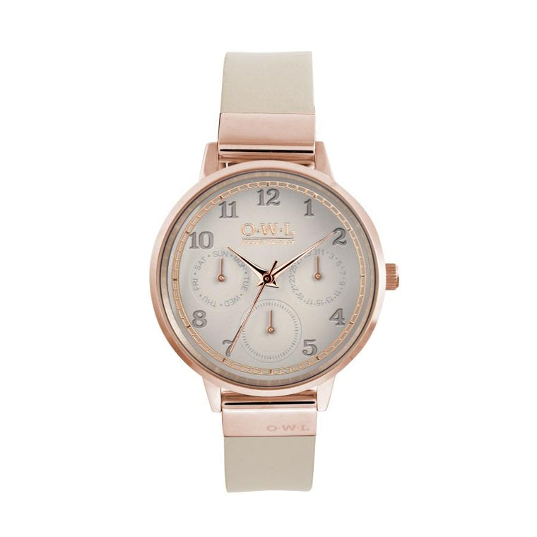 HELMSLEY ROSE GOLD CASE WITH MINK DIAL & LEATHER STRAP - OWL watches