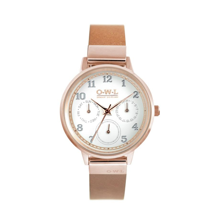HELMSLEY ROSE GOLD CASE WITH SHELL WHITE DIAL & LEATHER STRAP - OWL watches