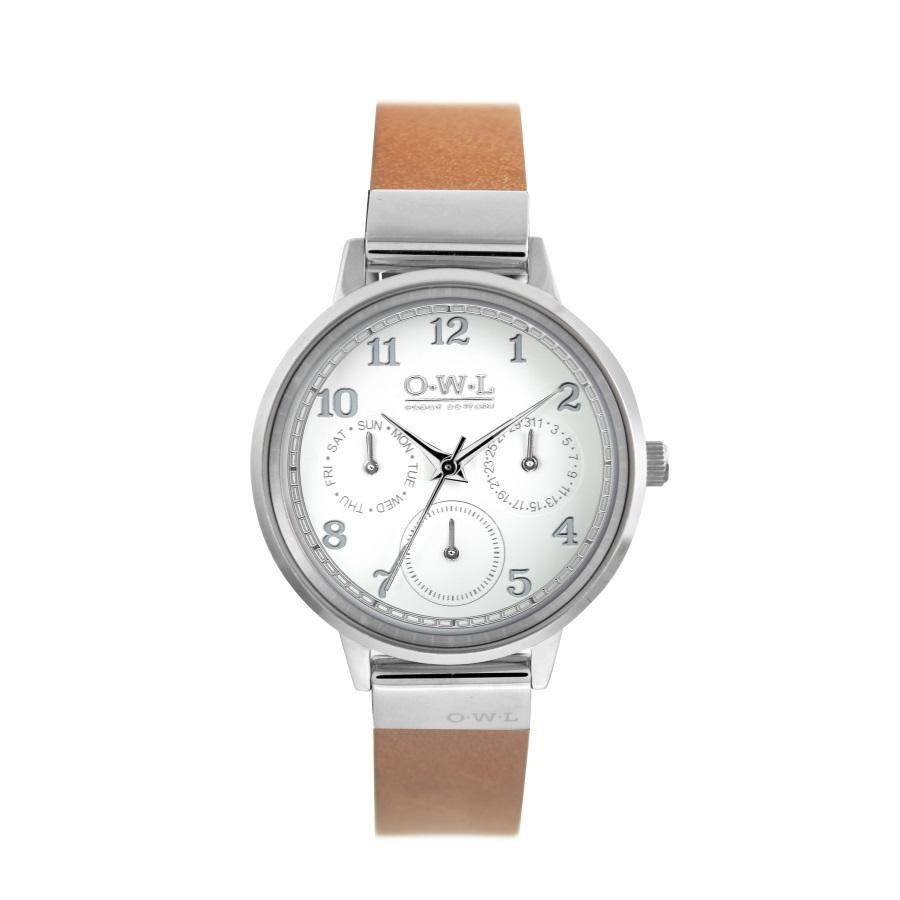 HELMSLEY STEEL CASE WITH SHELL WHITE DIAL & LEATHER STRAP - OWL watches