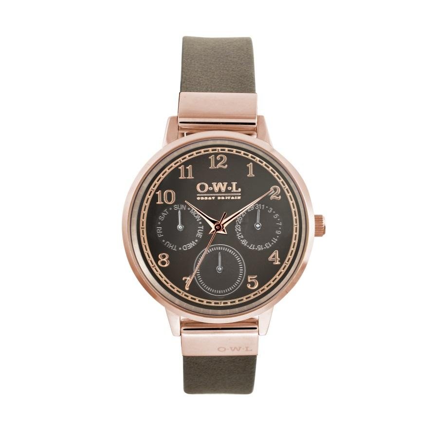HELMSLEY ROSE GOLD CASE WITH WARM GREY DIAL & LEATHER STRAP