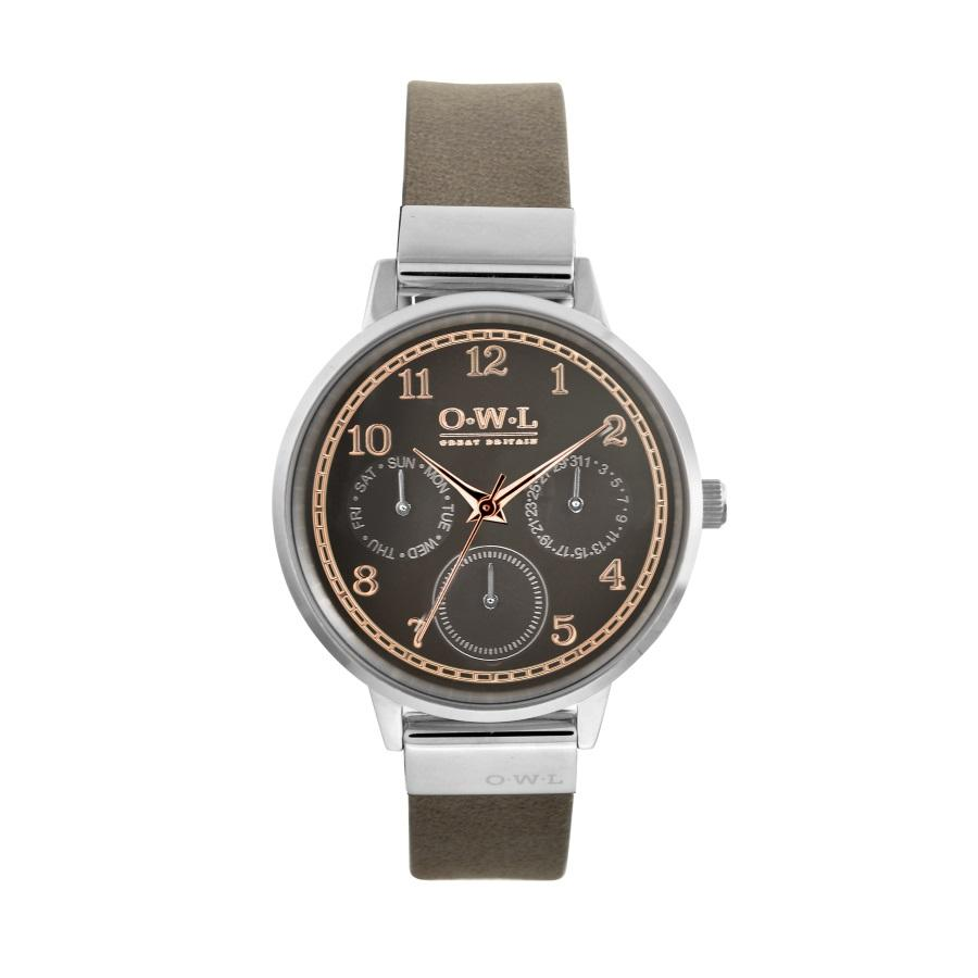 HELMSLEY STEEL CASE WITH WARM GREY DIAL & LEATHER STRAP