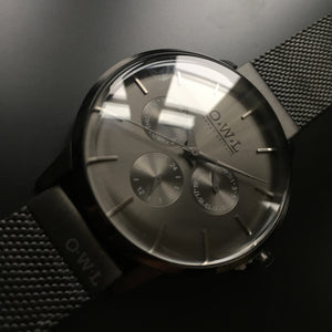PEMBREY GENTLEMAN'S All BLACK CASE & MESH STRAP WATCH - OWL watches