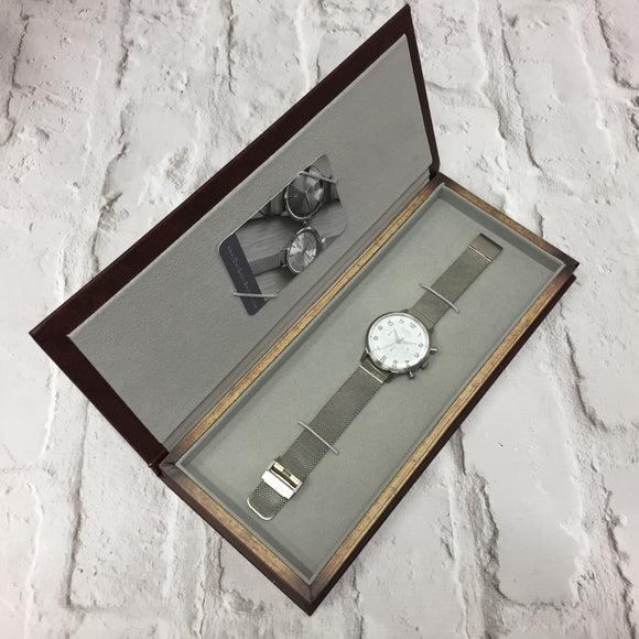 KINGSBRIDGE STEEL CASE, SHELL WHITE DIAL & STEEL MESH STRAP WATCH - OWL watches