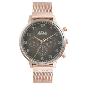 KINGSBRIDGE ROSE GOLD CASE, STONE GREY DIAL & ROSE GOLD MESH STRAP WATCH - OWL watches