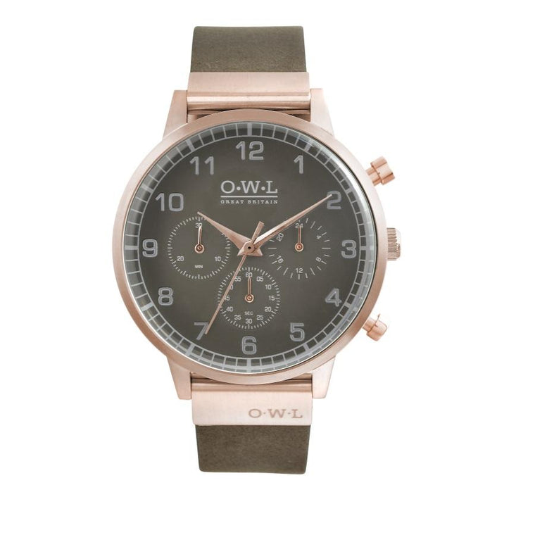 Mens leather Chronograph watch in rose gold with a deep grey dial and leather strap