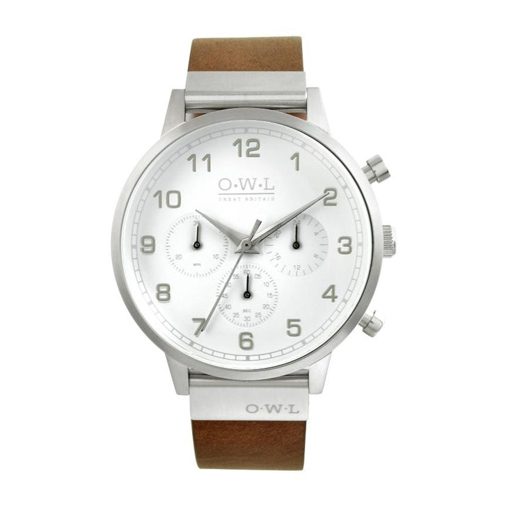 KINGSBRIDGE STEEL CASE, SHELL WHITE DIAL & NATURAL LEATHER STRAP WATCH