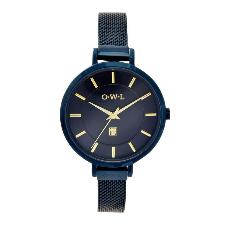 Feminine ladies mesh watch in navy blue plating with gold highlights