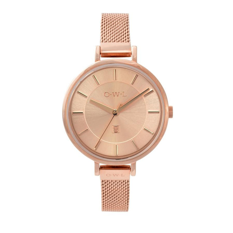 On a thin feminine strap, this rose gold mesh watch makes a statement.