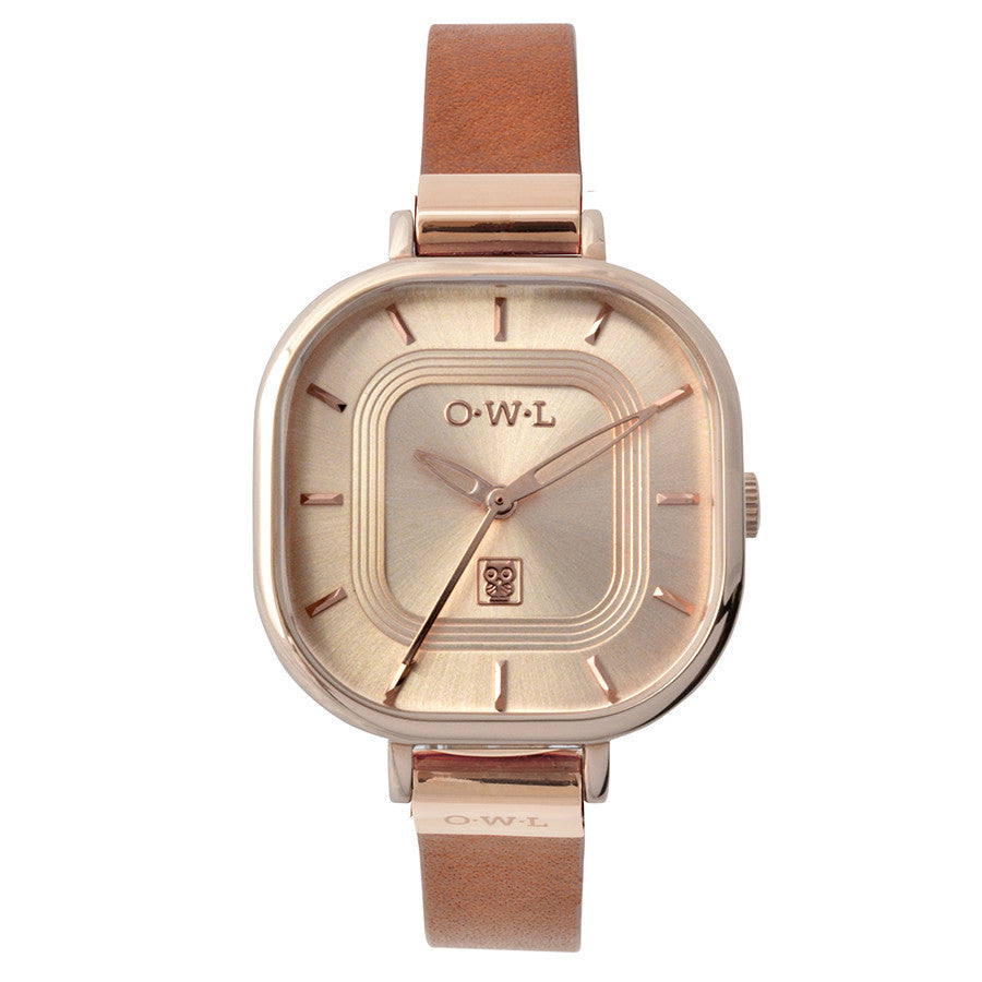 LADIES ROSE GOLD AND TAN WATCH