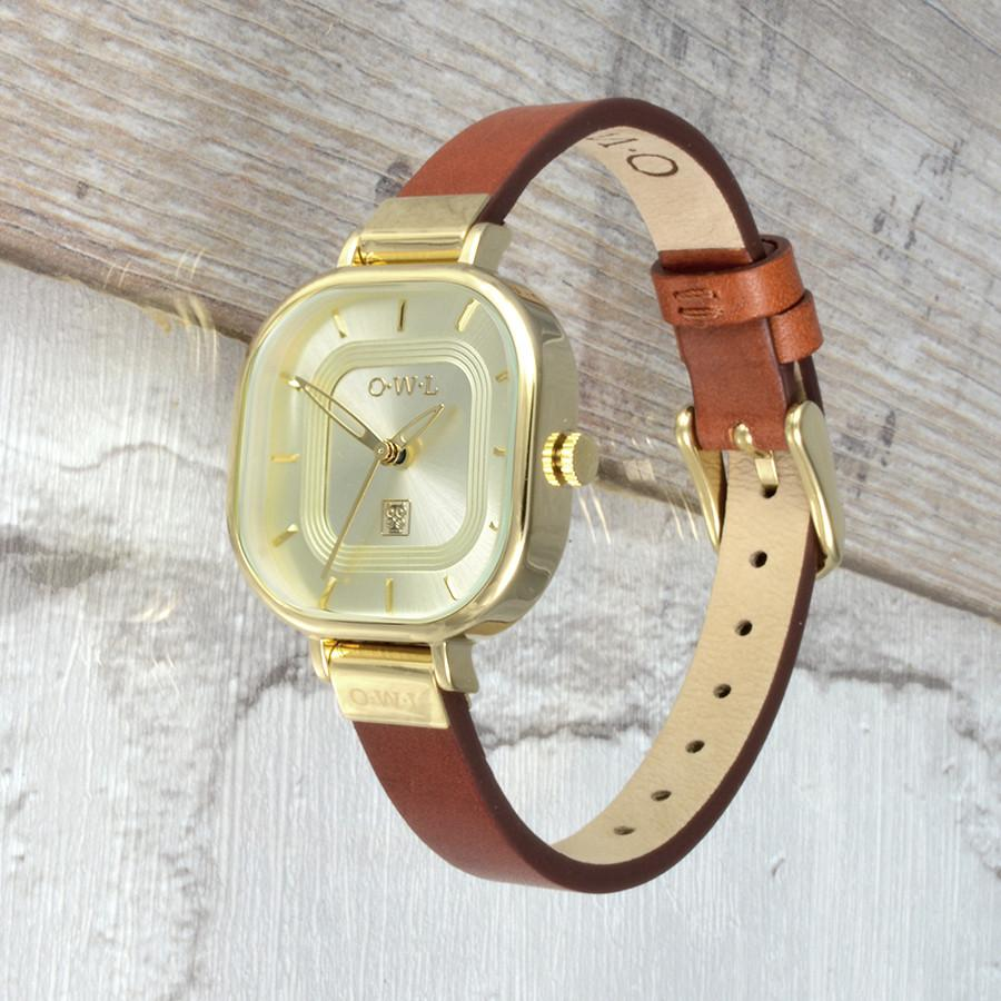 LINCOLN TAN AND GOLD LEATHER STRAP WATCH