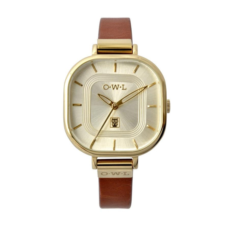 LINCOLN TAN AND GOLD VINTAGE INSPIRED LADIES WATCH
