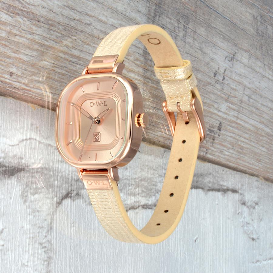 LINCOLN ROSE GOLD AND METALLIC SNAKE LEATHER STRAP WATCH