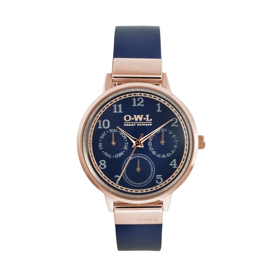 Ladies rose gold watch with a navy blue dial and leather strap