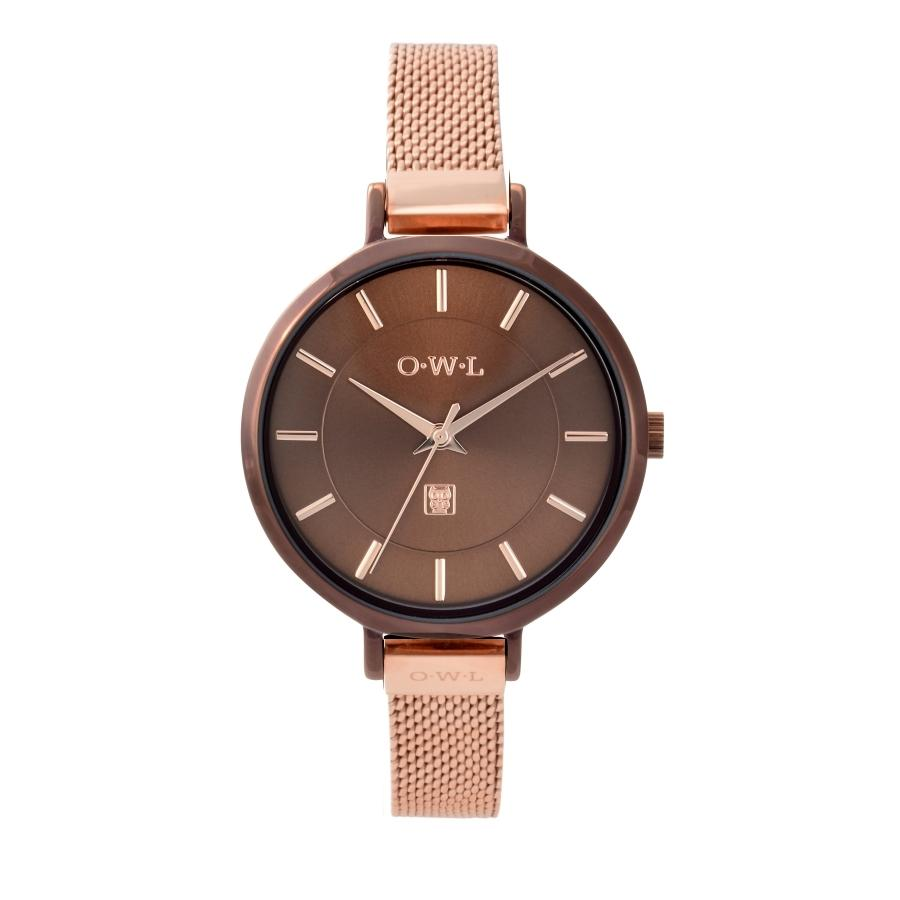 LEDBURY CHOCOLATE WATCH & ROSE GOLD MESH STRAP - OWL watches