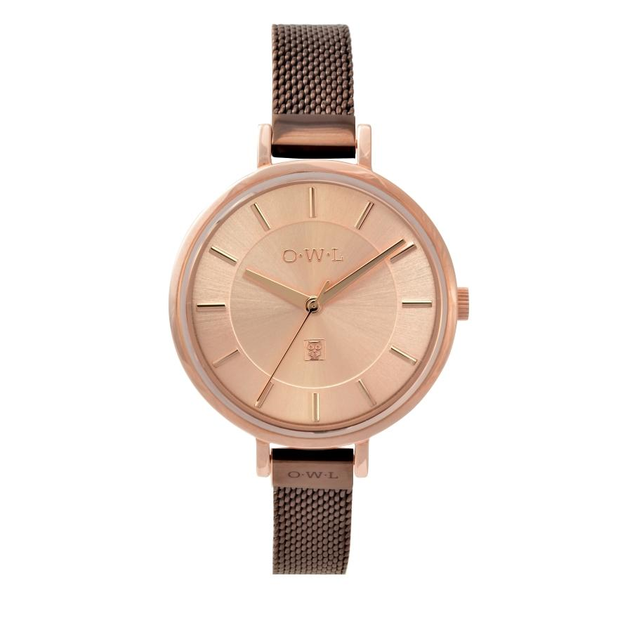 LEDBURY ROSE GOLD WATCH & CHOCOLATE MESH STRAP - OWL watches