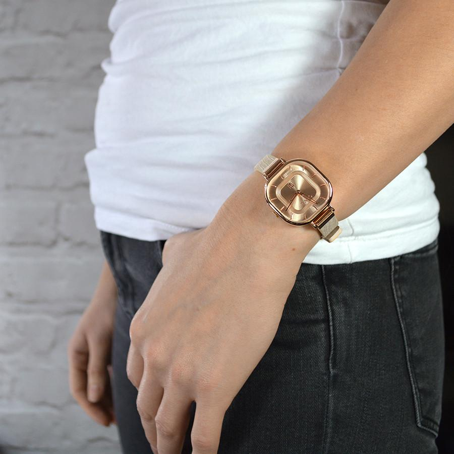 LINCOLN LADIES NUDE AND ROSE GOLD LEATHER STRAP WATCH