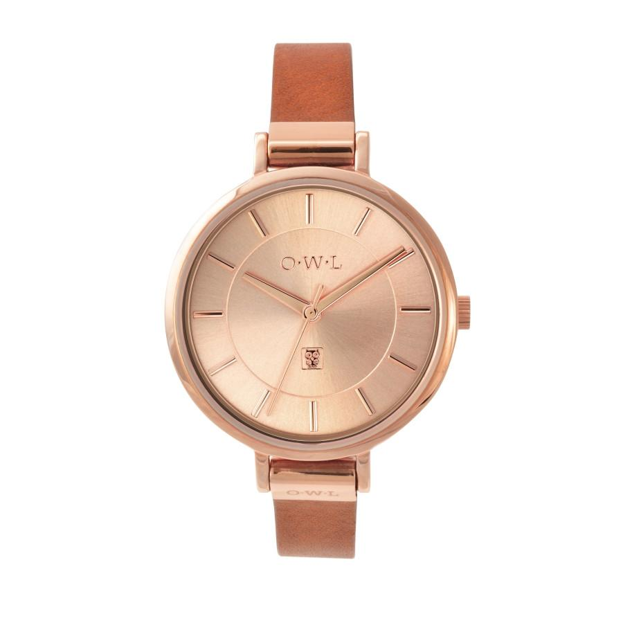 Rose gold ladies watch 34mm on a tan leather strap