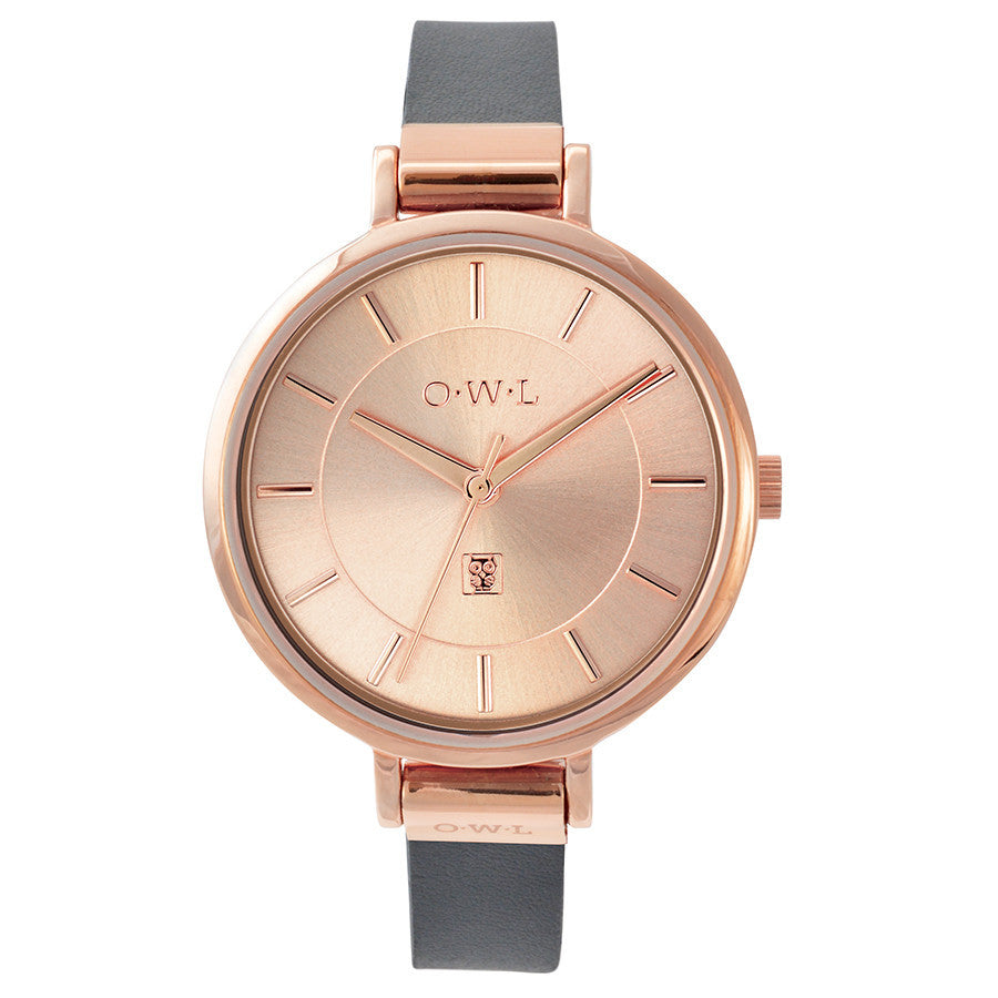 Mayfair watch in rose gold and grey