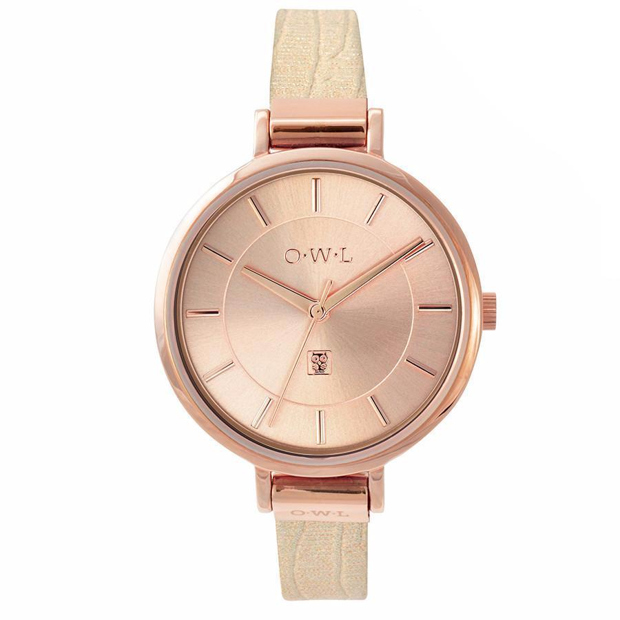 rose gold leather snake strap ladies watch