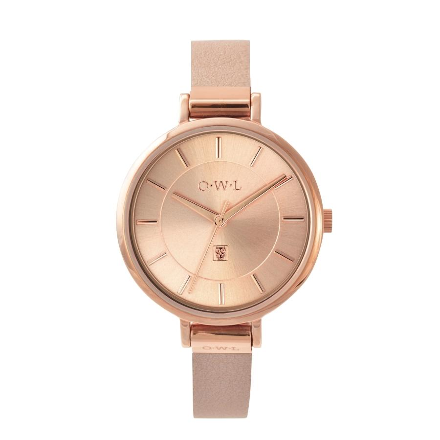 MAYFAIR ROSE GOLD & DUSKY PINK LEATHER STRAP WATCH - OWL watches