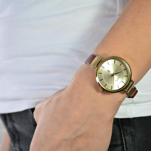 Gold and olive green leather ladies strap watch