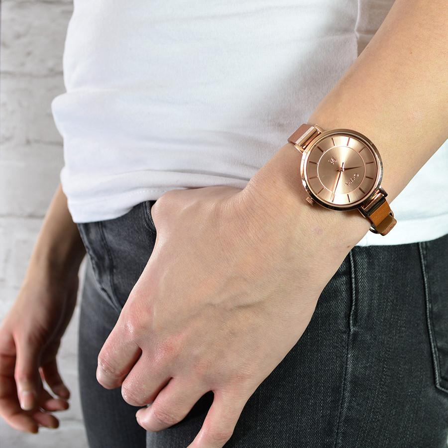 MAYFAIR TAN AND ROSE GOLD WATCH