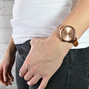 MAYFAIR TAN AND ROSE GOLD WATCH - OWL watches