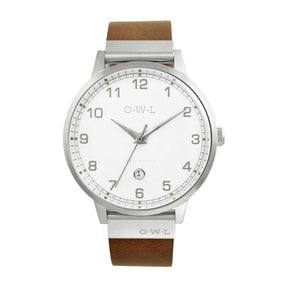 BRANCASTER STEEL & WHITE DIAL & NATURAL LEATHER STRAP WATCH - OWL watches