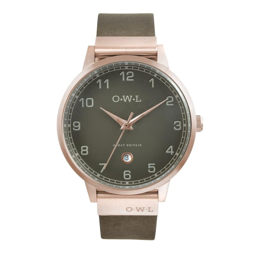 Mens rose gold watch on dark grey leather strap with matching dial