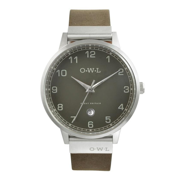 Mens Silver Watch with date window & Dark Grey Dial & Matching Leather Strap