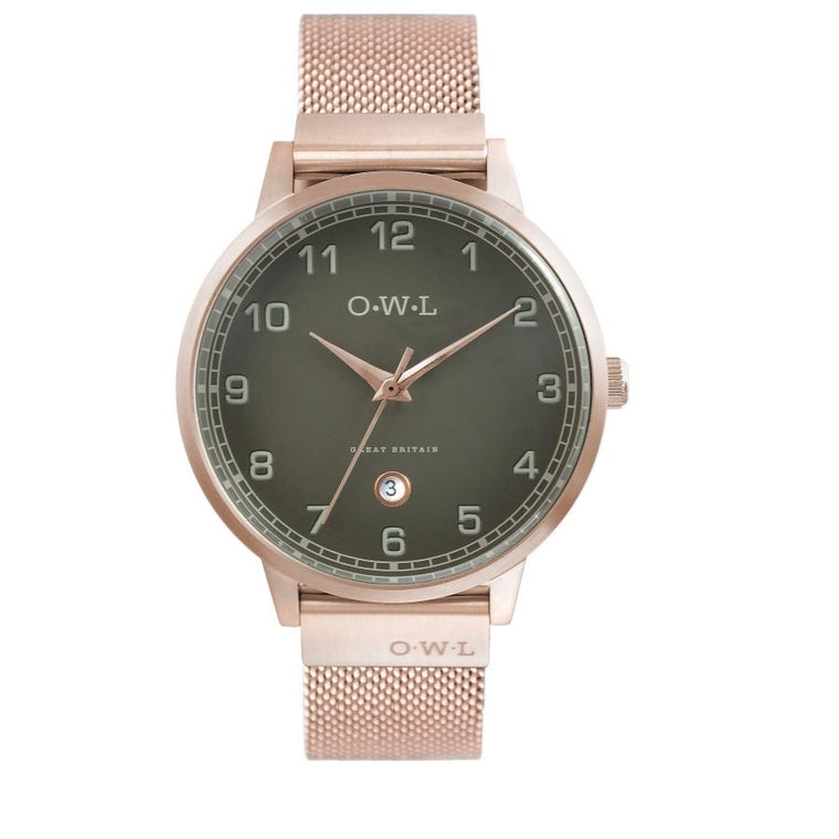 Mens rose gold mesh watch with dark grey dial.