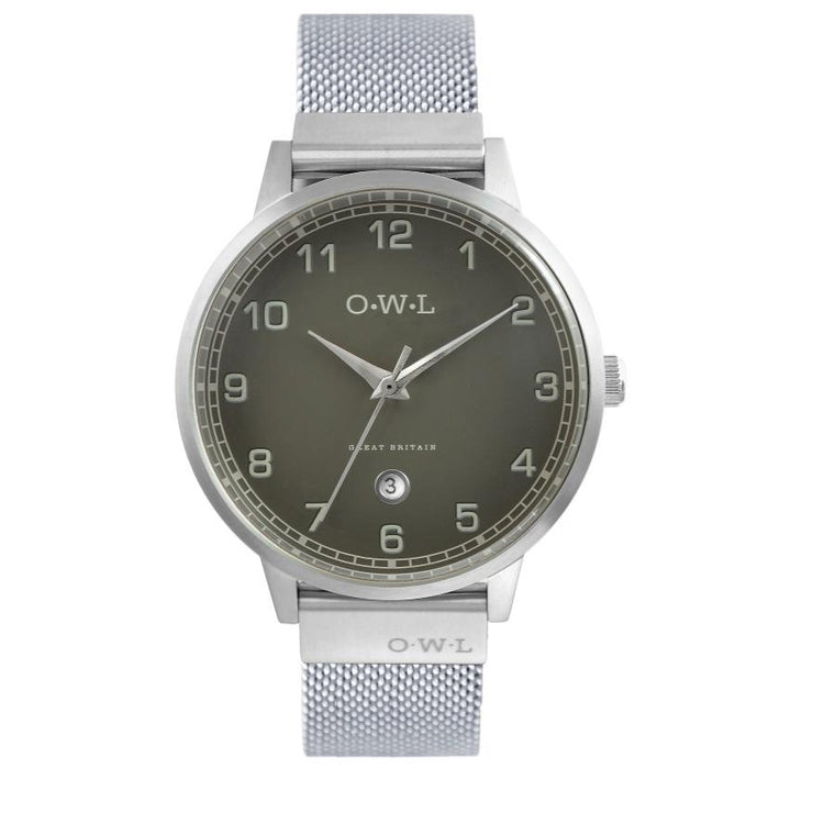 Mens silver mesh bracelet watch with dark grey dial & date window