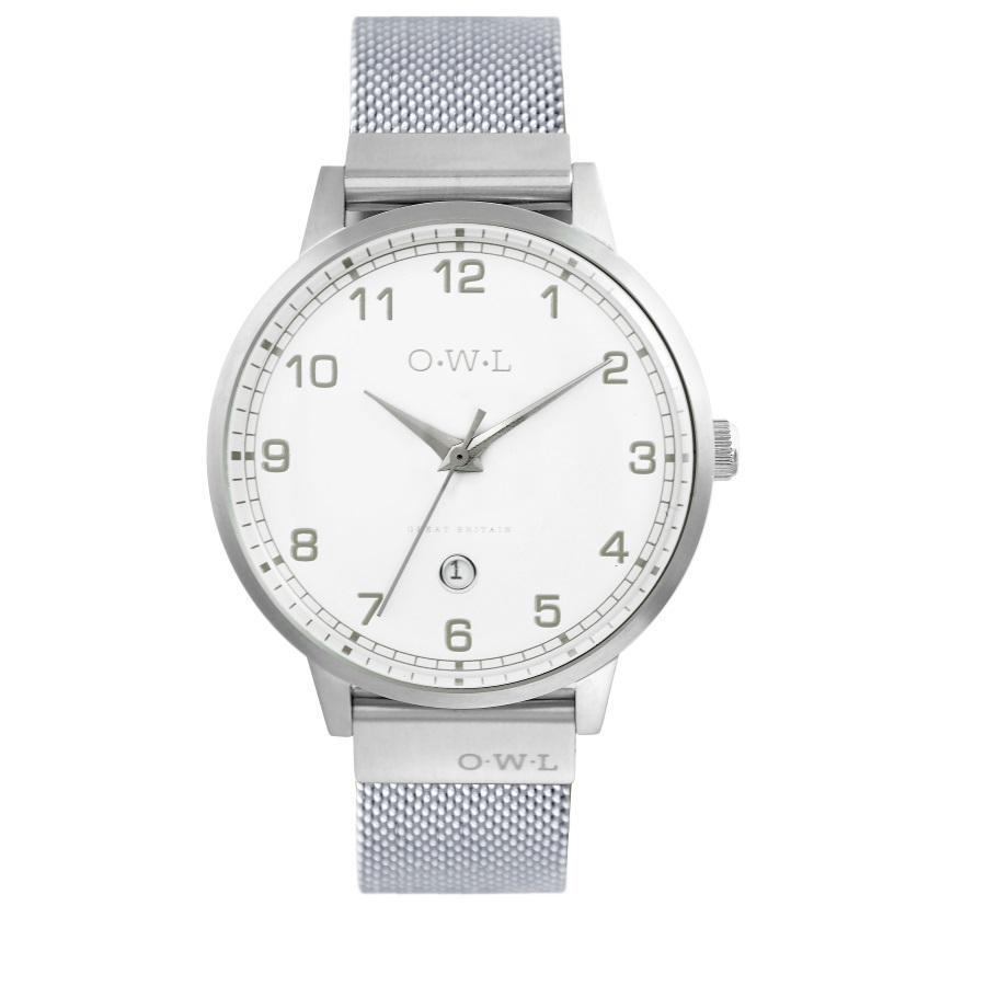 Mens Silver Watch with White dial date window and silver mesh bracelet