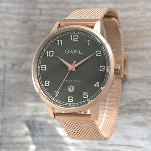 BRANCASTER ROSE GOLD & STONE GREY DIAL, ROSE GOLD MESH WATCH - OWL watches