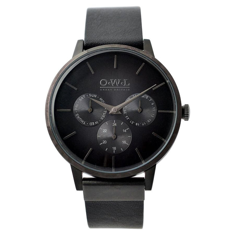 PEMBREY GENTLEMAN'S GUN METAL AND BLACK LEATHER WATCH