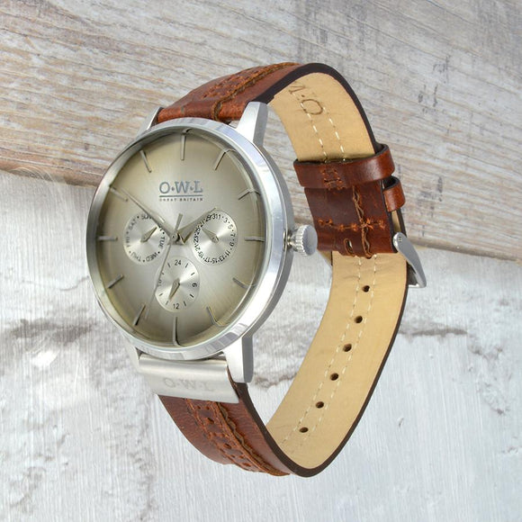 PEMBREY GENTLEMAN'S BROGUE TRIPLE DIAL LEATHER STRAP WATCH
